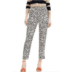 J Crew Ivory Easy In Leopard Print Linen Pants 2